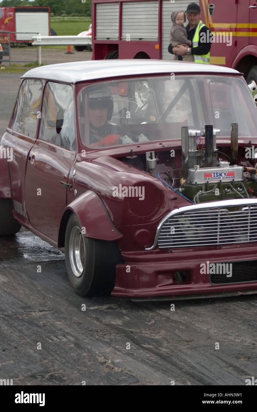 Old mini car drag racing at York Raceway North Yorkshire heavily ...