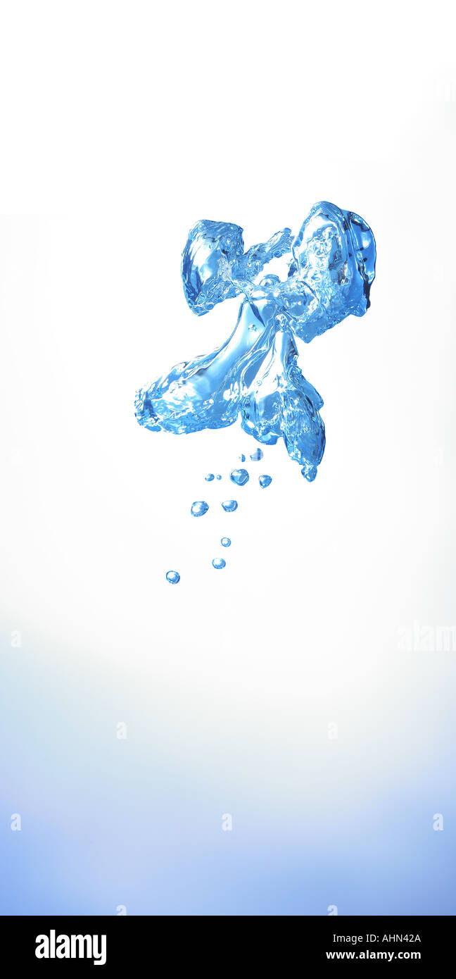 cutout dropout of bubbles under water in the shape of a flying creature angel - Stock Image