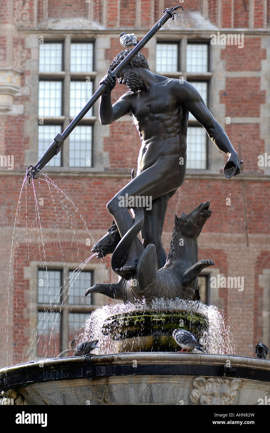 Neptune Fountain in the Old Town of Danzig in Poland. - Stock Image