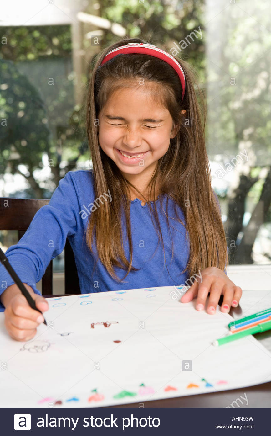 Girl Drawing With Her Eyes Closed Stock Photo 14513340 Alamy