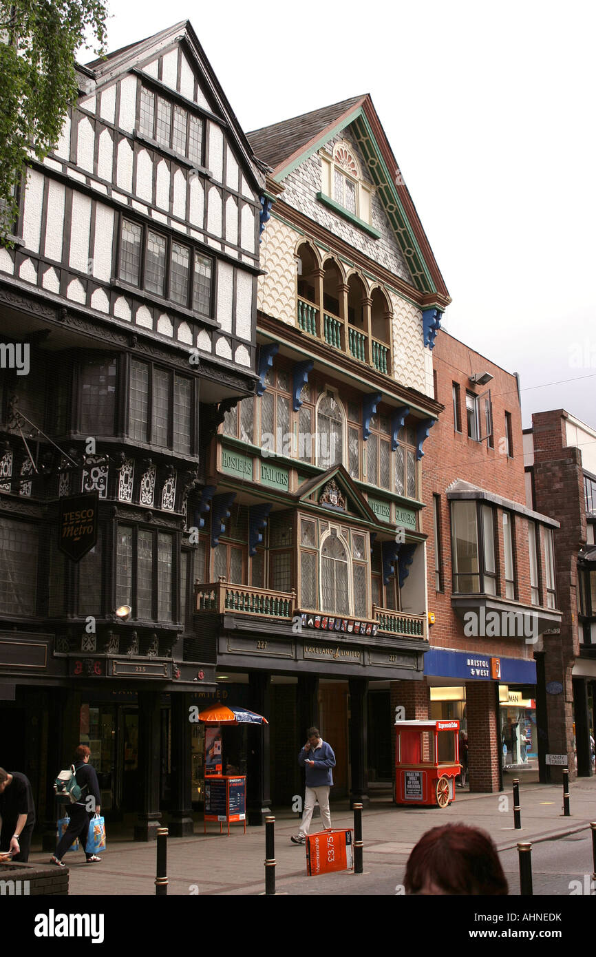 UK Devon Exeter High Street old buildings which survived wartime bombing - Stock Image