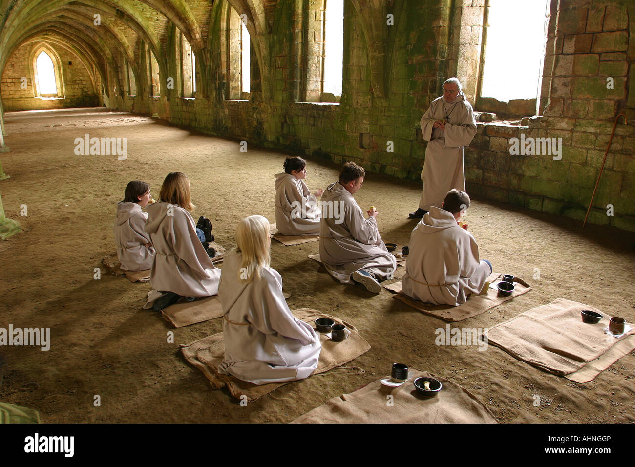 UK Yorkshire Ripon Fountains Abbey Its A Monks Life in Lay Brothers Refectory Stock Photo