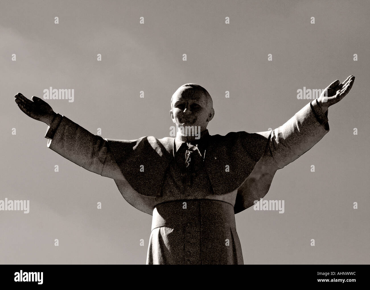 Pope John Paul II Statue in Monochrome - Stock Image