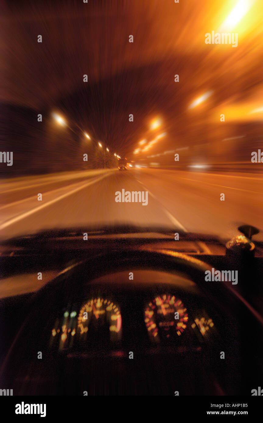 Behind The Wheel >> Night Driving From Behind The Wheel Stock Photo 2695604 Alamy