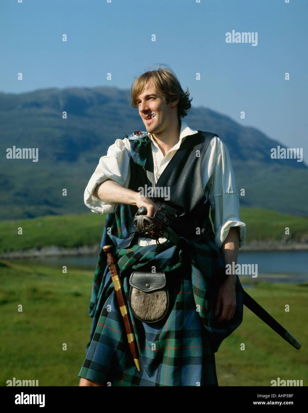 Highlander Loch Assynt Highlands Scotland - Stock Image