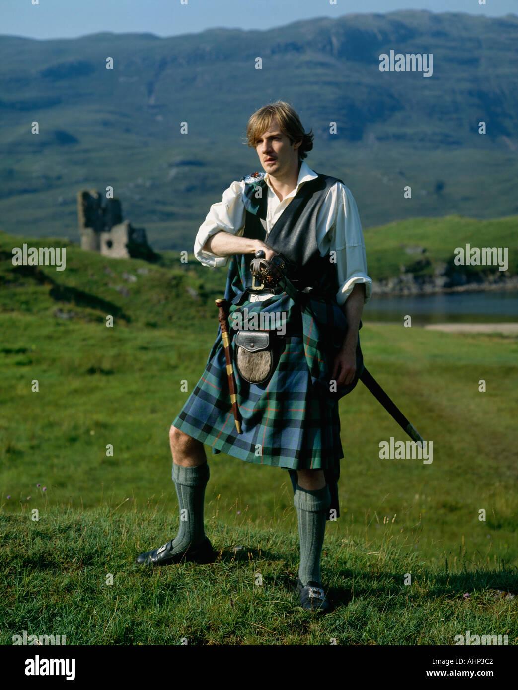 Highlander Ardvreck Castle Highlands Scotland - Stock Image