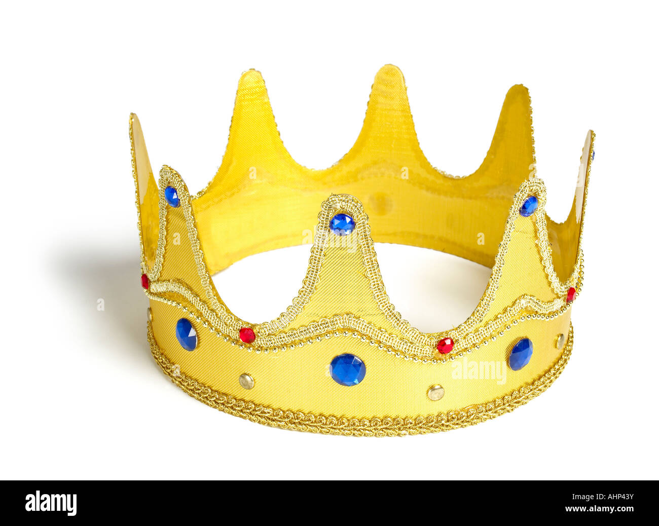 Gold jeweled crown hat - Stock Image