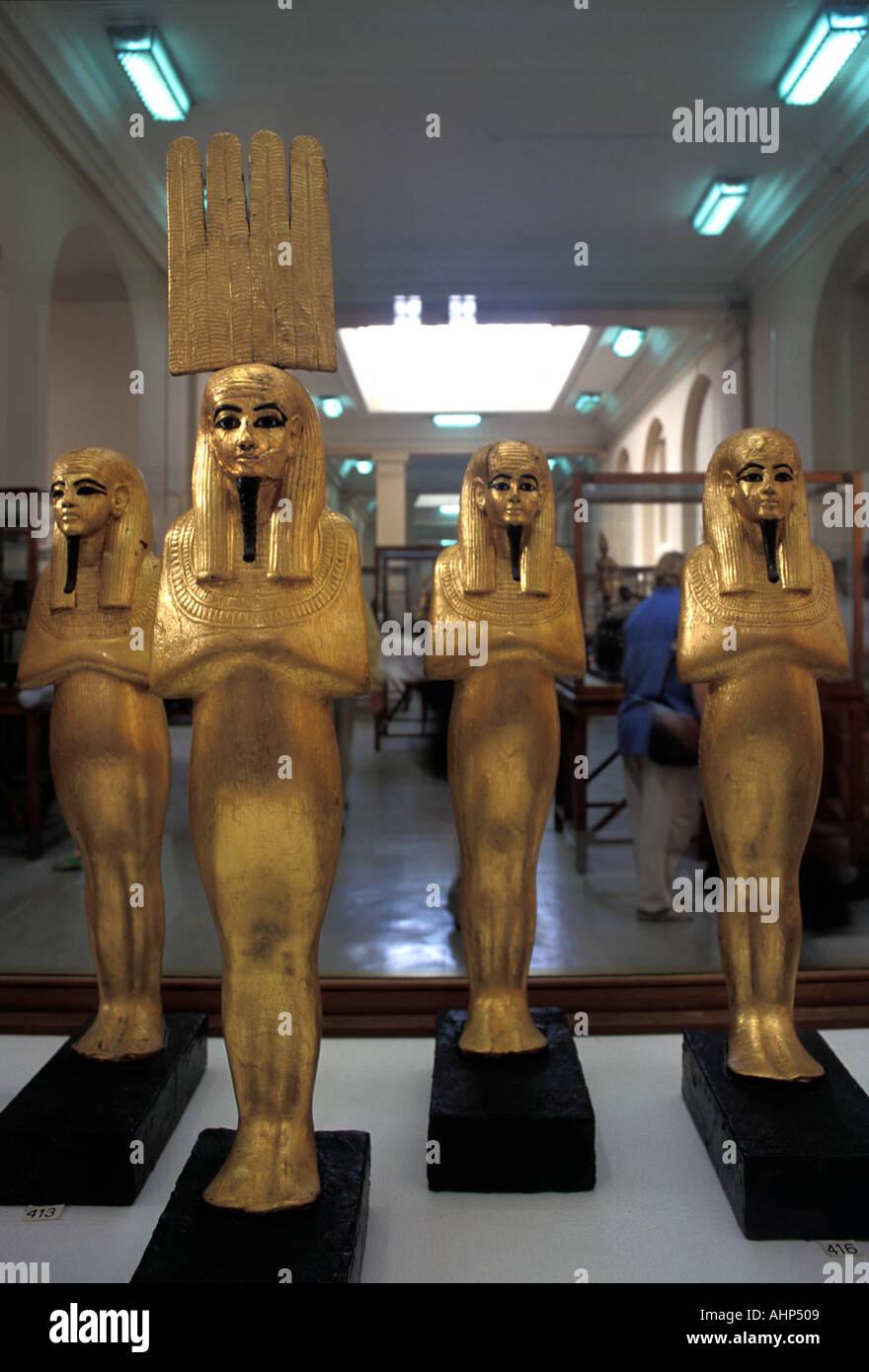 Gilded statuary in the Egyptian Museum Cairo Egypt Tutankhamun s treasure - Stock Image