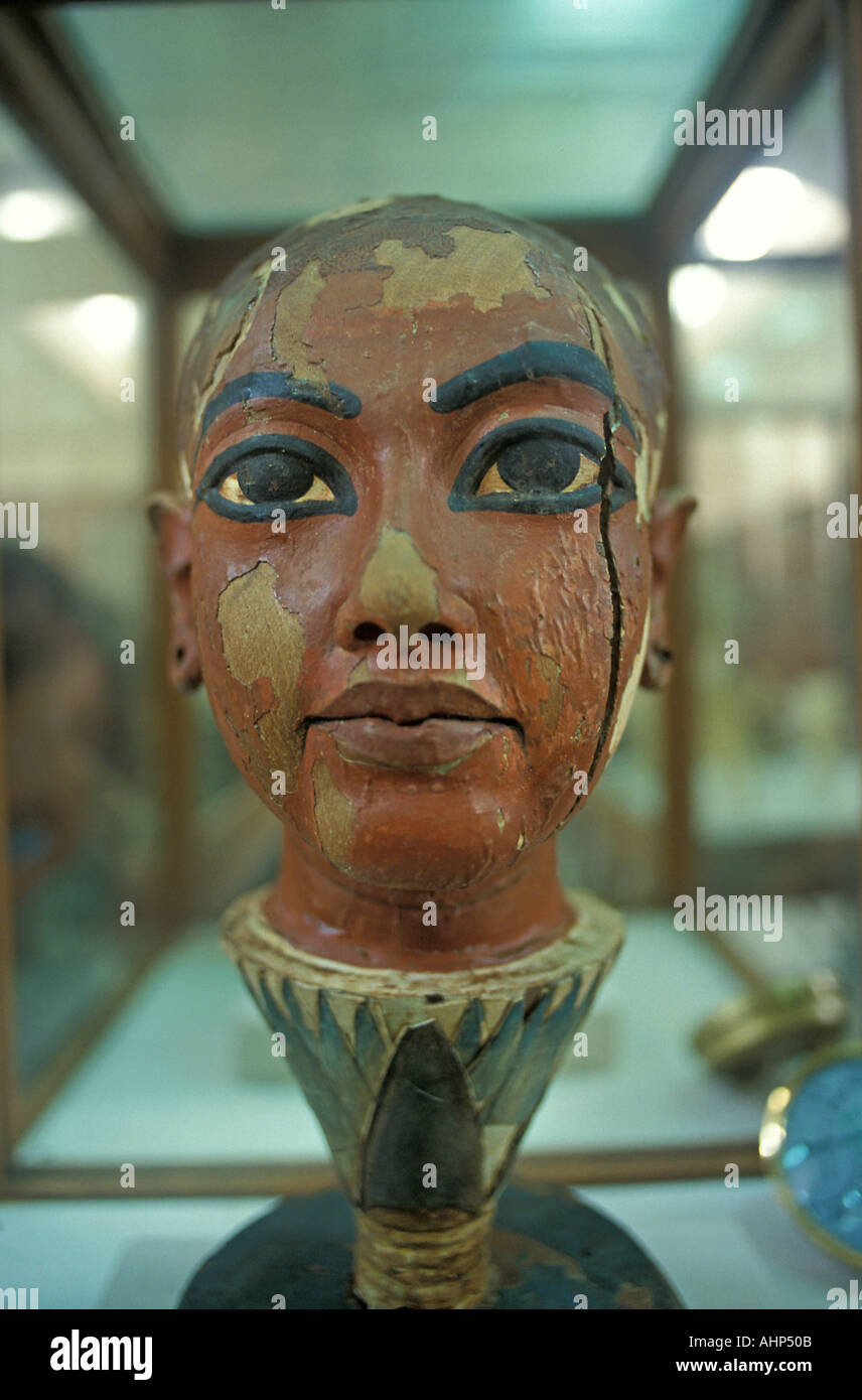 Wooden carving of Tutankhamun s head as a young man Egyptian Museum CAiro Egypt - Stock Image