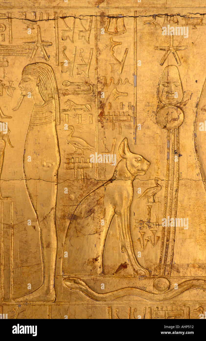 Gilded sarcophagus of Tutankhamun ornately carved Discovered in 1922 by Howard Carter Egyptian Museum CAiro Egypt - Stock Image