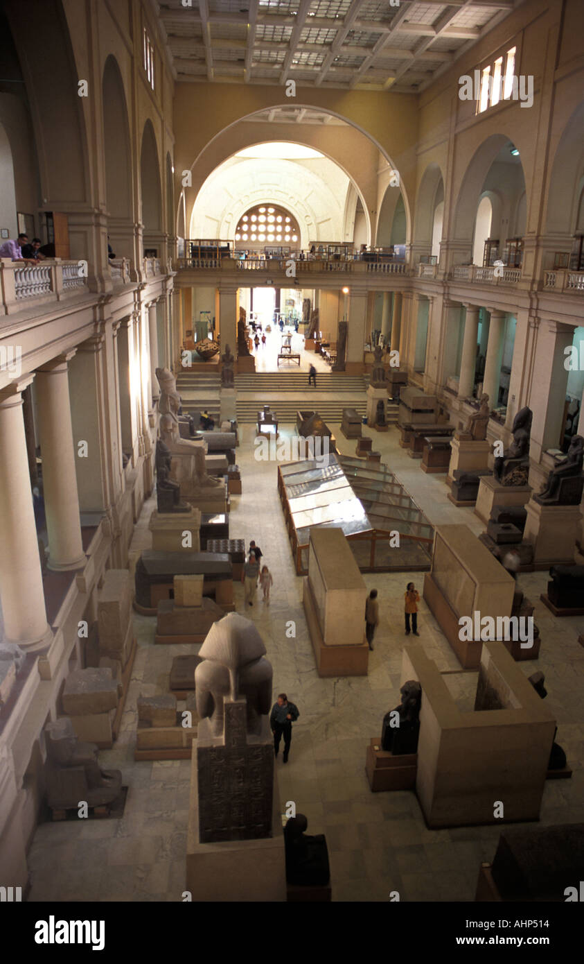 Interior of the Egyptian Museum repository of the finest Egyptian antiquities in the world Cairo Egypt - Stock Image
