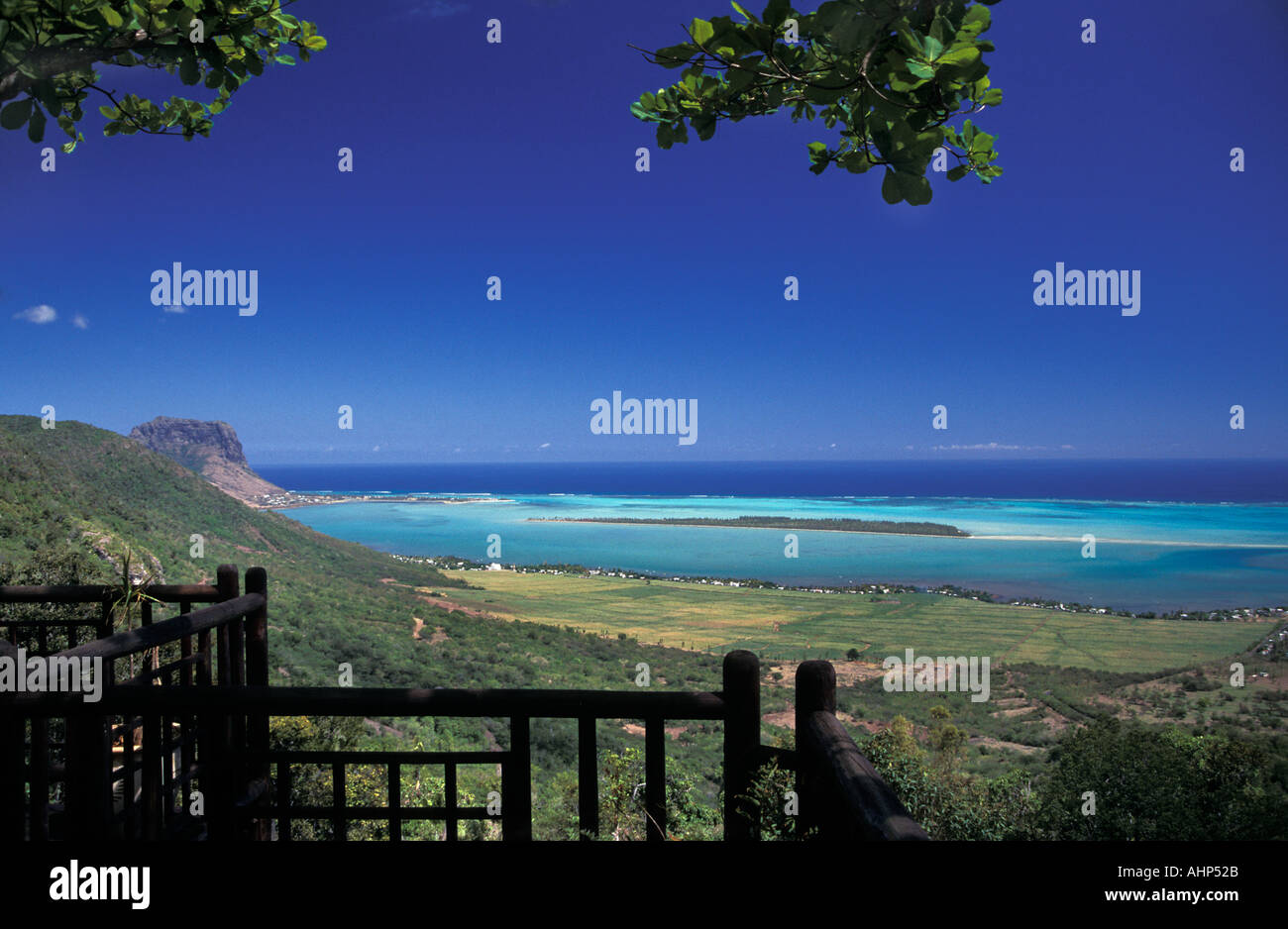 Spectacular view from a balcony of the sea off the coast of Mauritius Indian Ocean - Stock Image