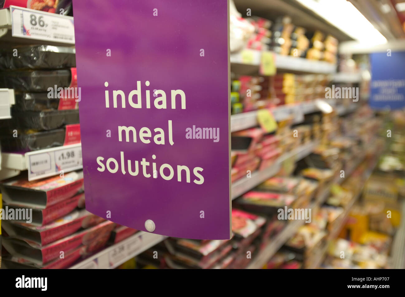 Ready made Indian meals in a supermarket - Stock Image