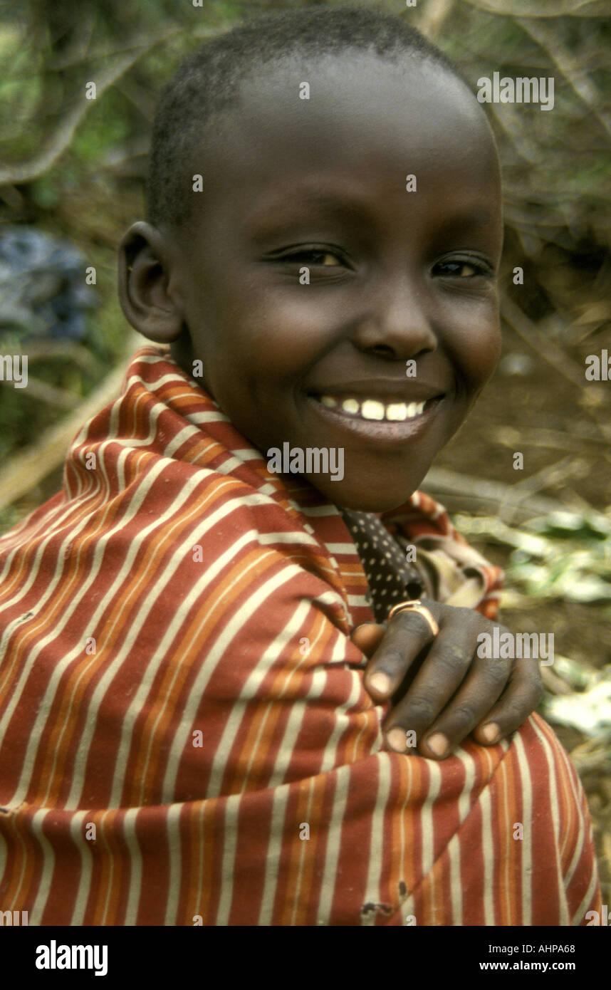 Portrait of a young Maasai boy near the Masai Mara National Reserve Kenya East Africa Stock Photo