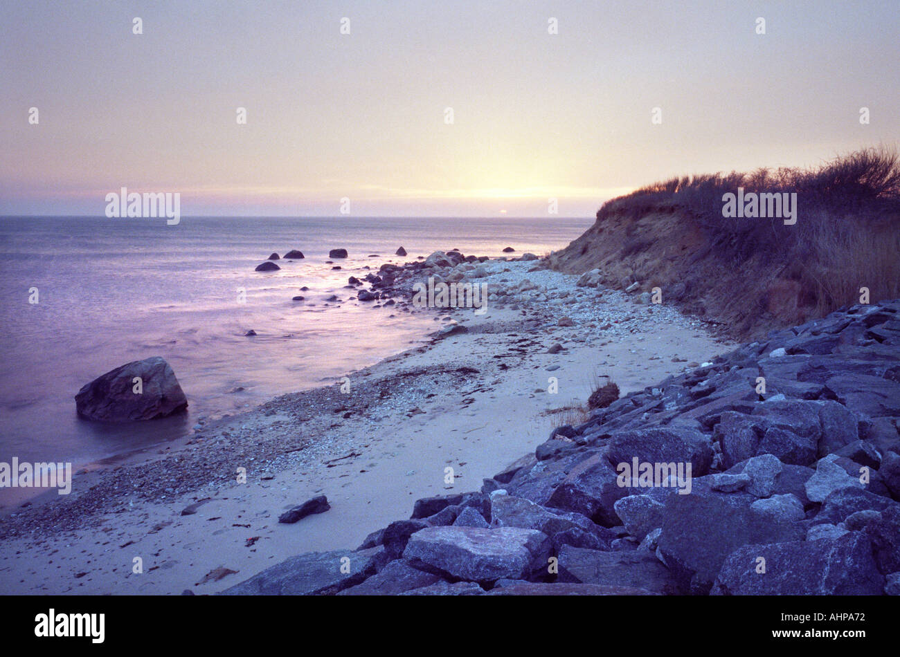 Block Island Rhode Island USA RI US Beach with rocks and sea - Stock Image