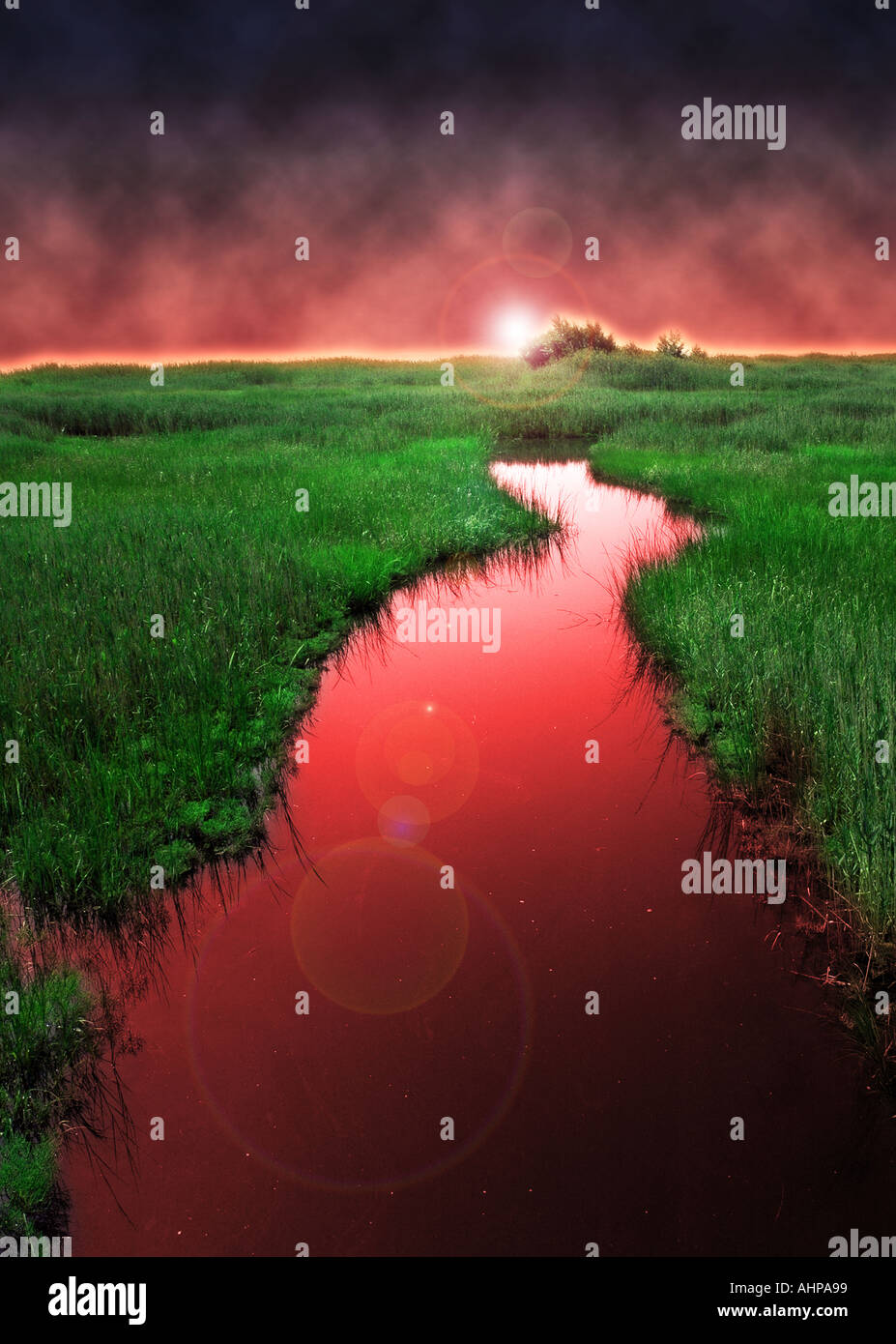 surreal red river running into green landscape with a curve bend in the flowing water - Stock Image