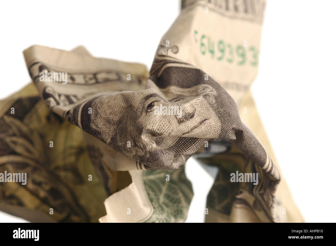 Dollar Bill US Currency note with white background and shadow depth of field view Stock Photo