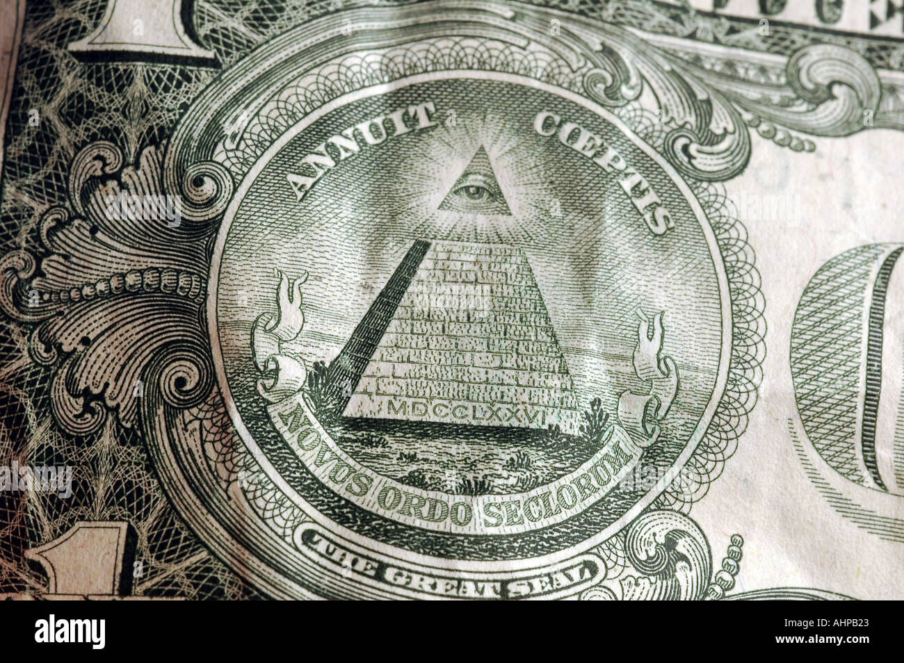The back of a US One dollar bill detail with white background Old Money Stock Photo