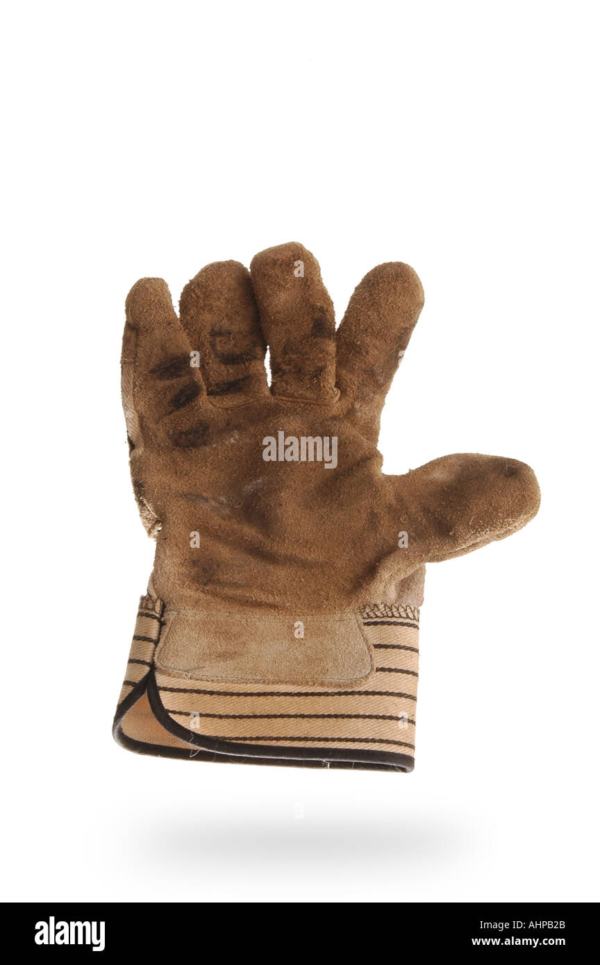 men s workglove with white background and shadow Glove appears to float against backdrop Work Concept Manual Labor - Stock Image