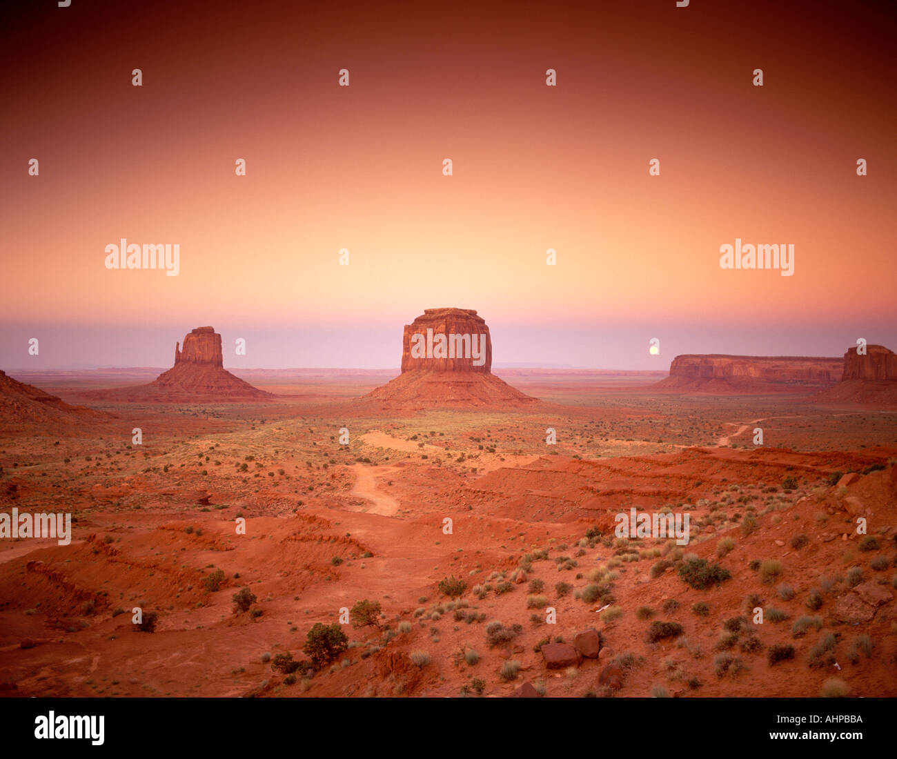 Moonrise over Monument Valley as seen from the Visitors Center Arizona - Stock Image
