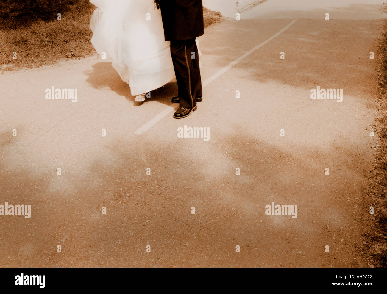 bride and groom s legs - Stock Image