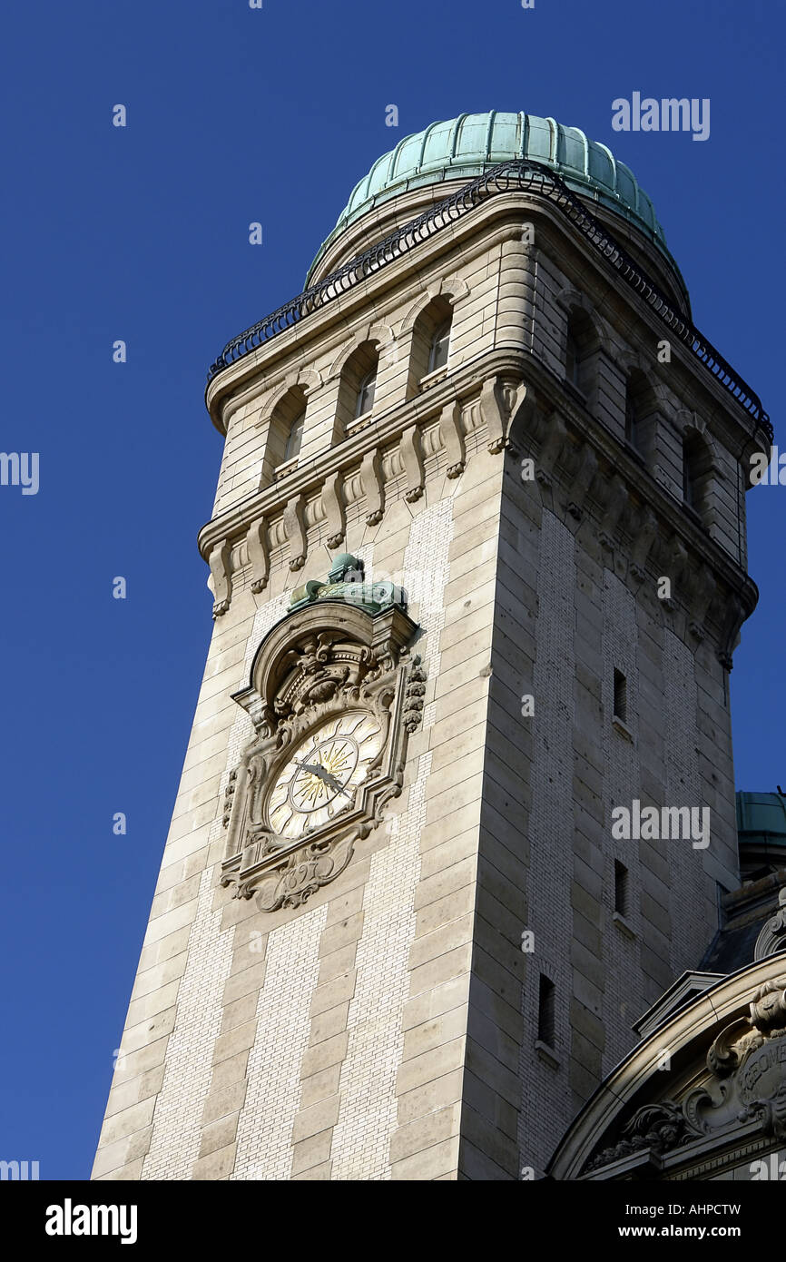 Tower of Sorbonne university in Paris France - Stock Image