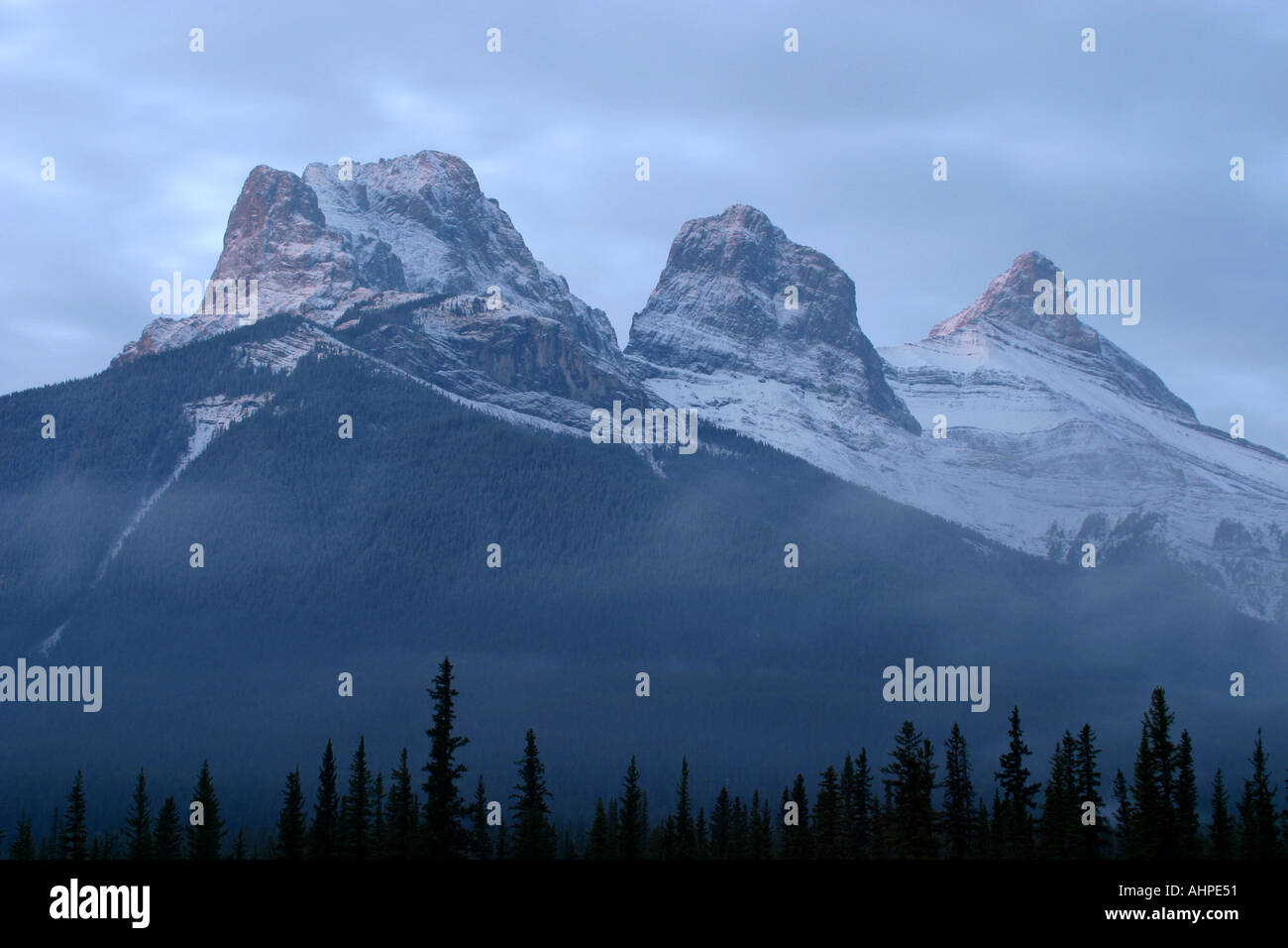 Horizontal    Three sisters Banff Naional Park Alberta Canada North America - Stock Image