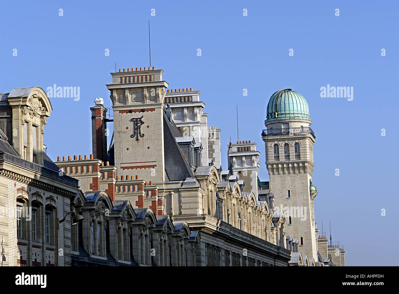 Roofs of Sorbonne university in Paris France - Stock Image