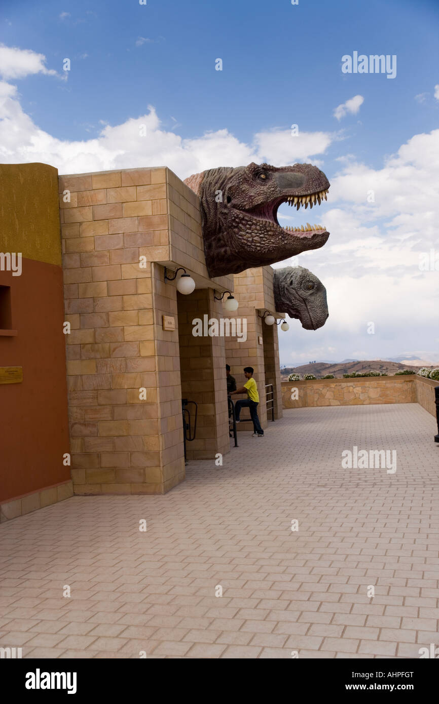 The Parque Cretacico, the new Dinosaur park set up to overlook the Dinosaur footprints at the Cal Orko Mountain - Stock Image