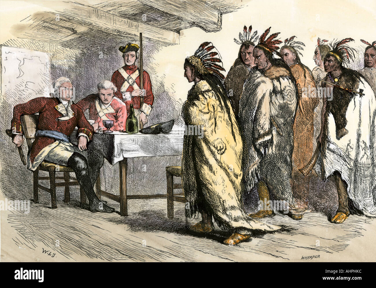 Visit Of Pontiac And His Native American Allies To British