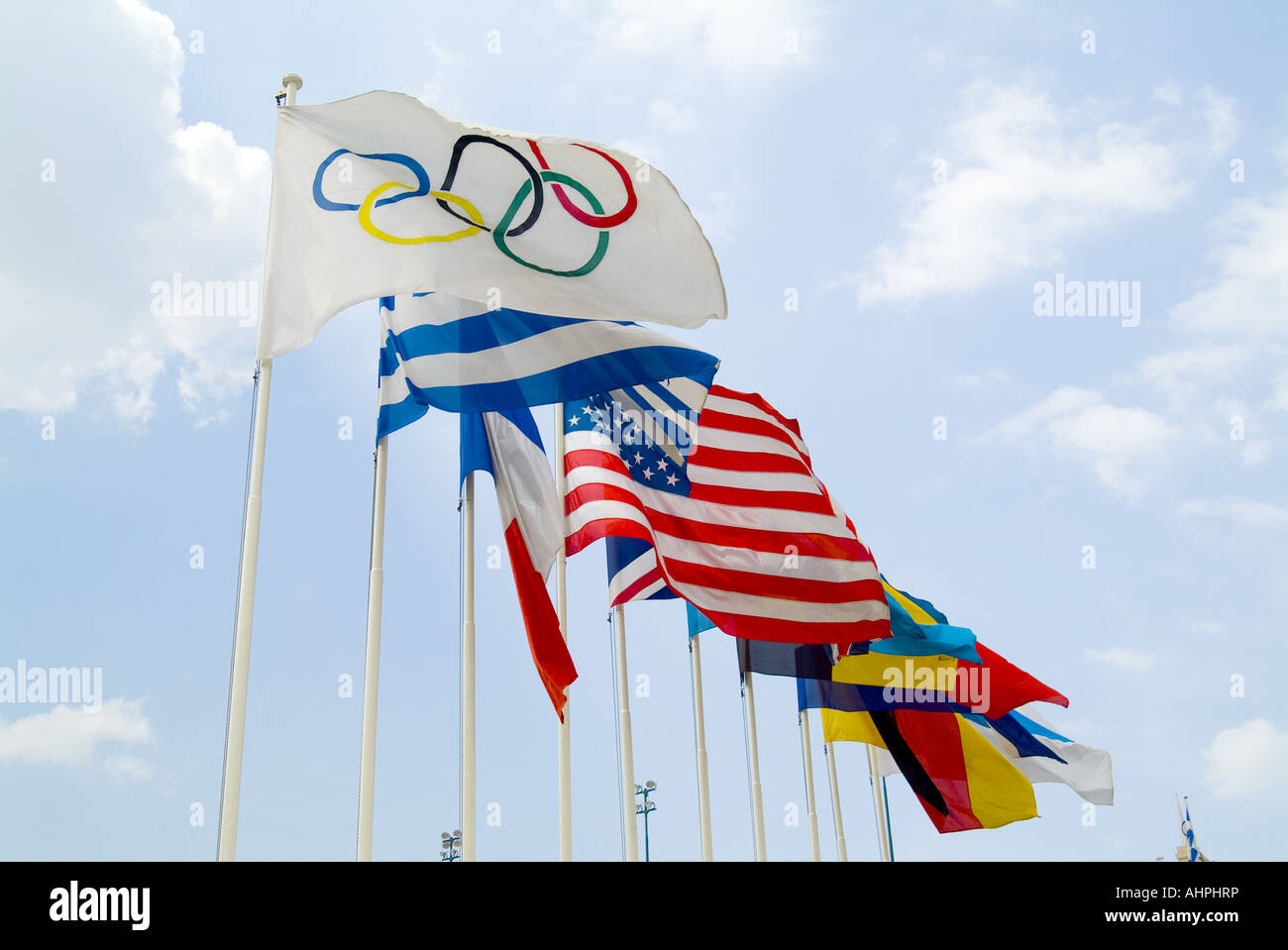 Olympic flags, Athens - Stock Image