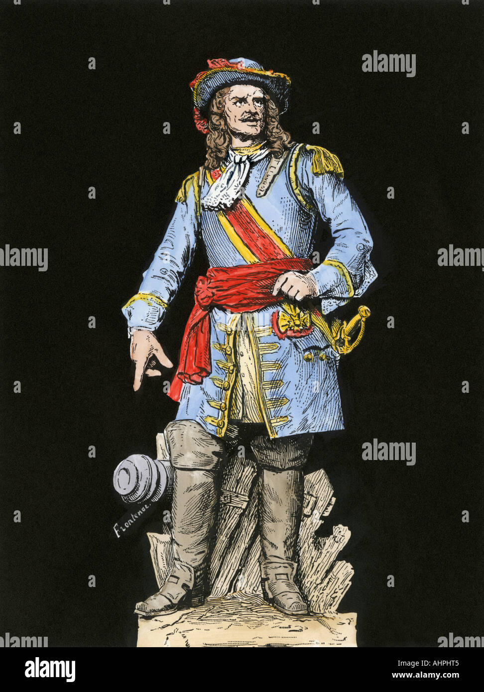 Louis de Buade Count Frontenac governer general of New France 1600s. Hand-colored woodcut - Stock Image