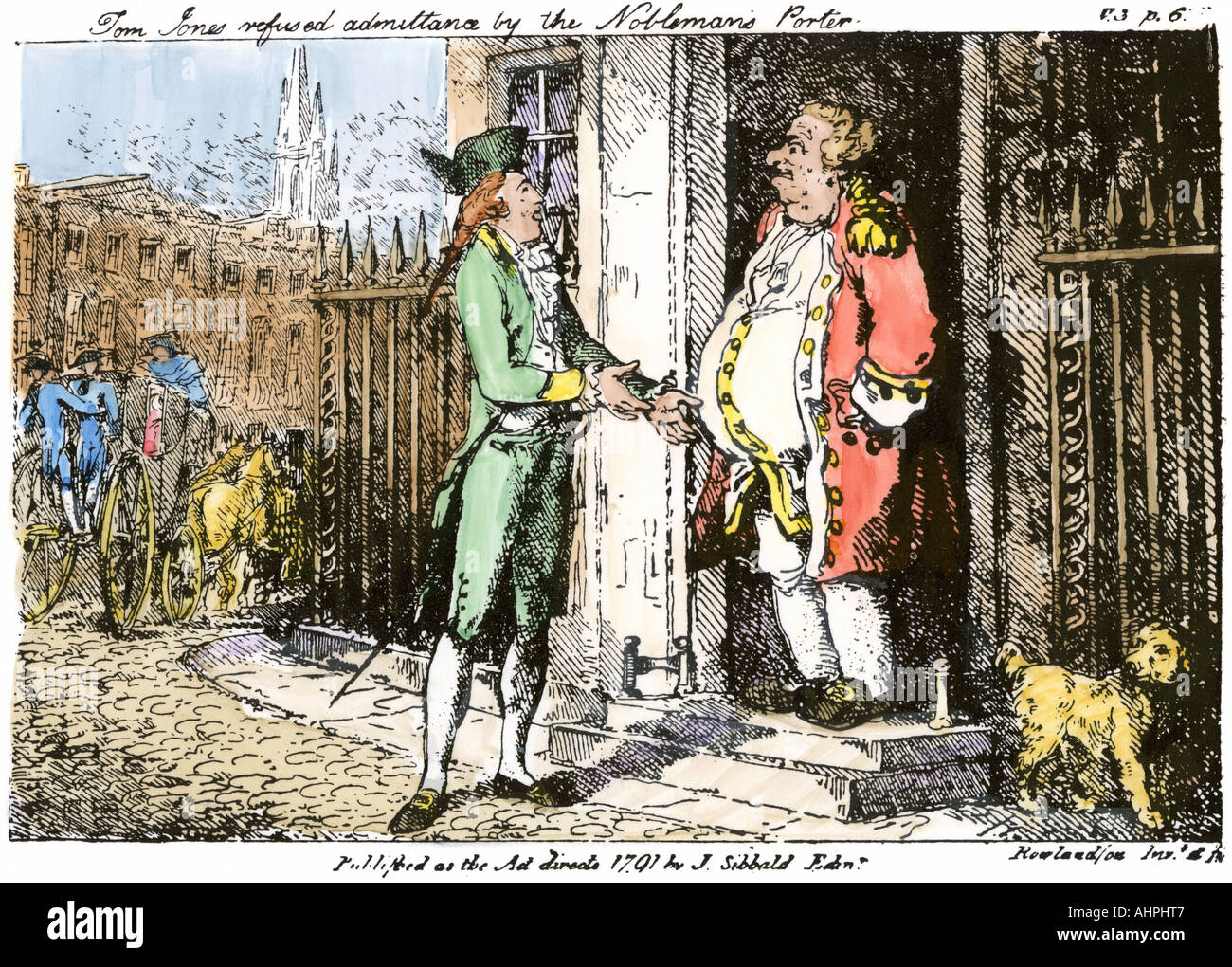 In Henry Fielding novel Tom Jones is refused admittance to the home of a nobleman. Hand-colored etching - Stock Image