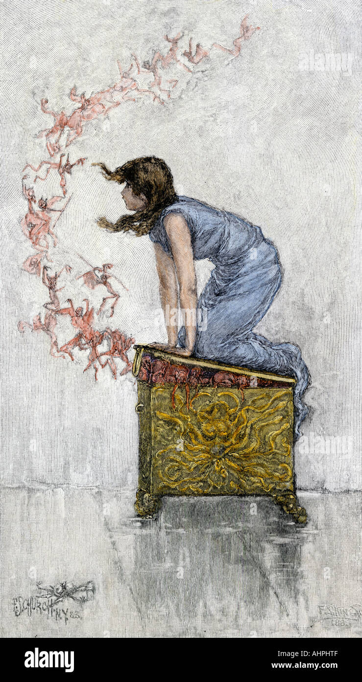 Pandora atop the opened box of evils from ancient Greek mythology. Hand-colored woodcut - Stock Image
