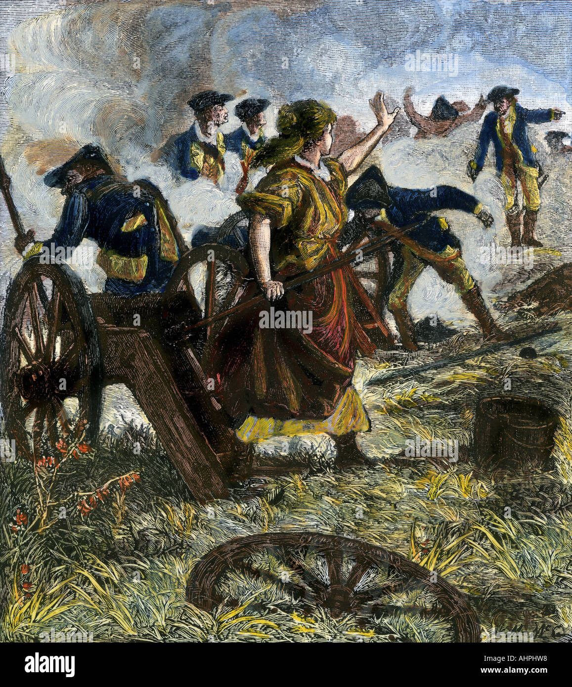 molly pitcher firing the cannon of her fallen husband at the battle