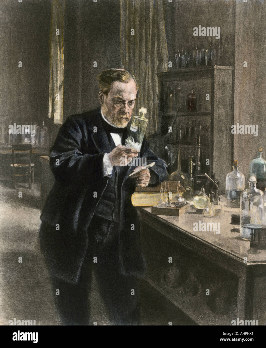 Louis Pasteur in his laboratory. Hand-colored photogravure of an illustration by Albert Edelfelt Stock Photo