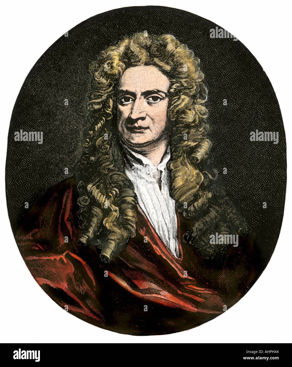 Sir Isaac Newton. Hand-colored woodcut - Stock Image