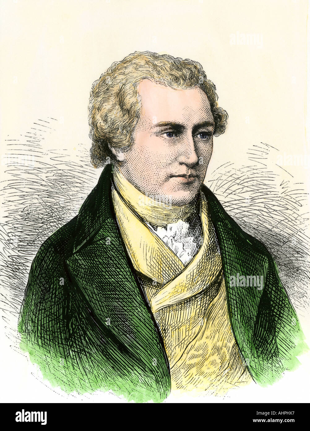 Benjamin Thompson Count Rumford. Hand-colored woodcut - Stock Image