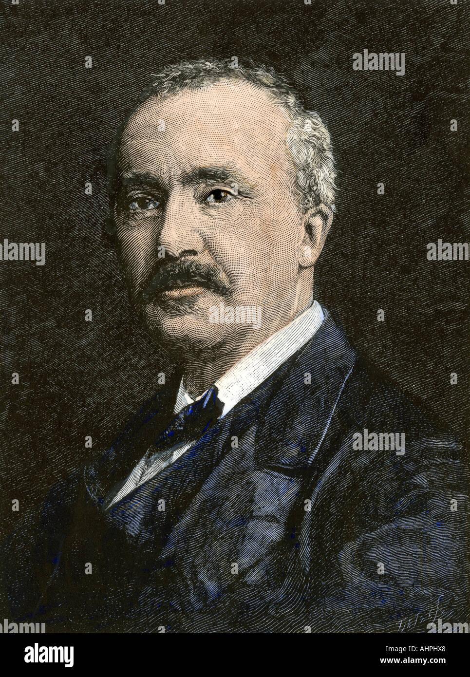 Archaeologist Heinrich Schliemann. Hand-colored woodcut - Stock Image