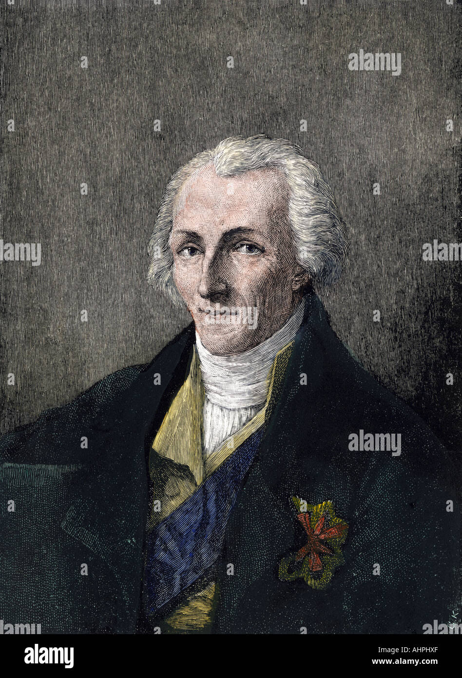 Benjamin Thompson known as Count von Rumford. Hand-colored woodcut - Stock Image