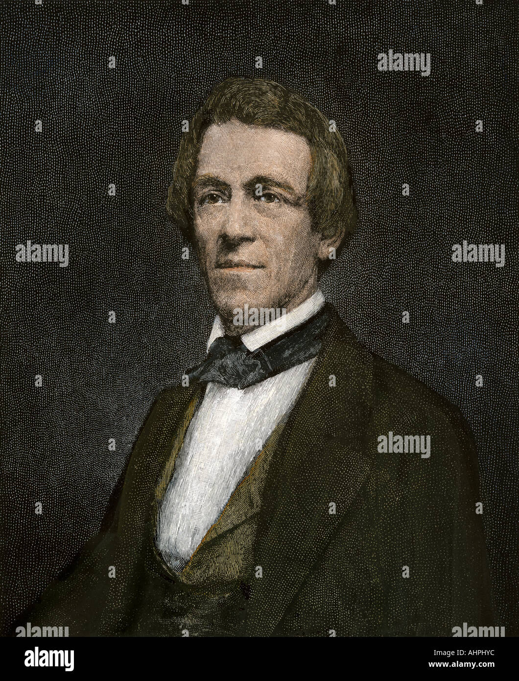 Albert Vail who helped develop telegraphy. Hand-colored woodcut - Stock Image