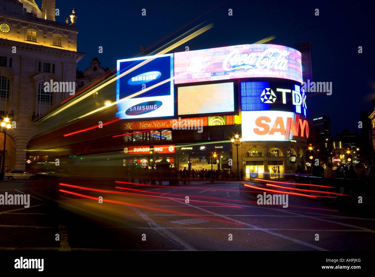 Picadilly Circus at night - Stock Image