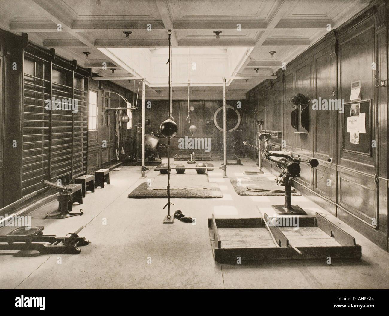 Cunard Line promotional brochure for Berengaria circa 1930 The gymnasium - Stock Image