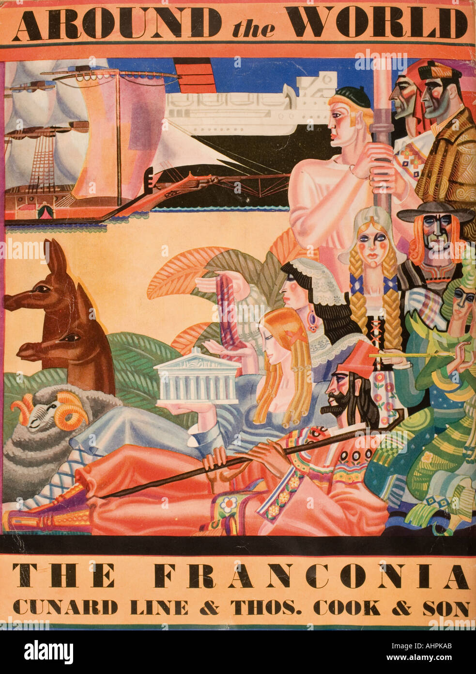 Cunard Line promotional brochure for the Franconia 1931 world cruise Back cover - Stock Image