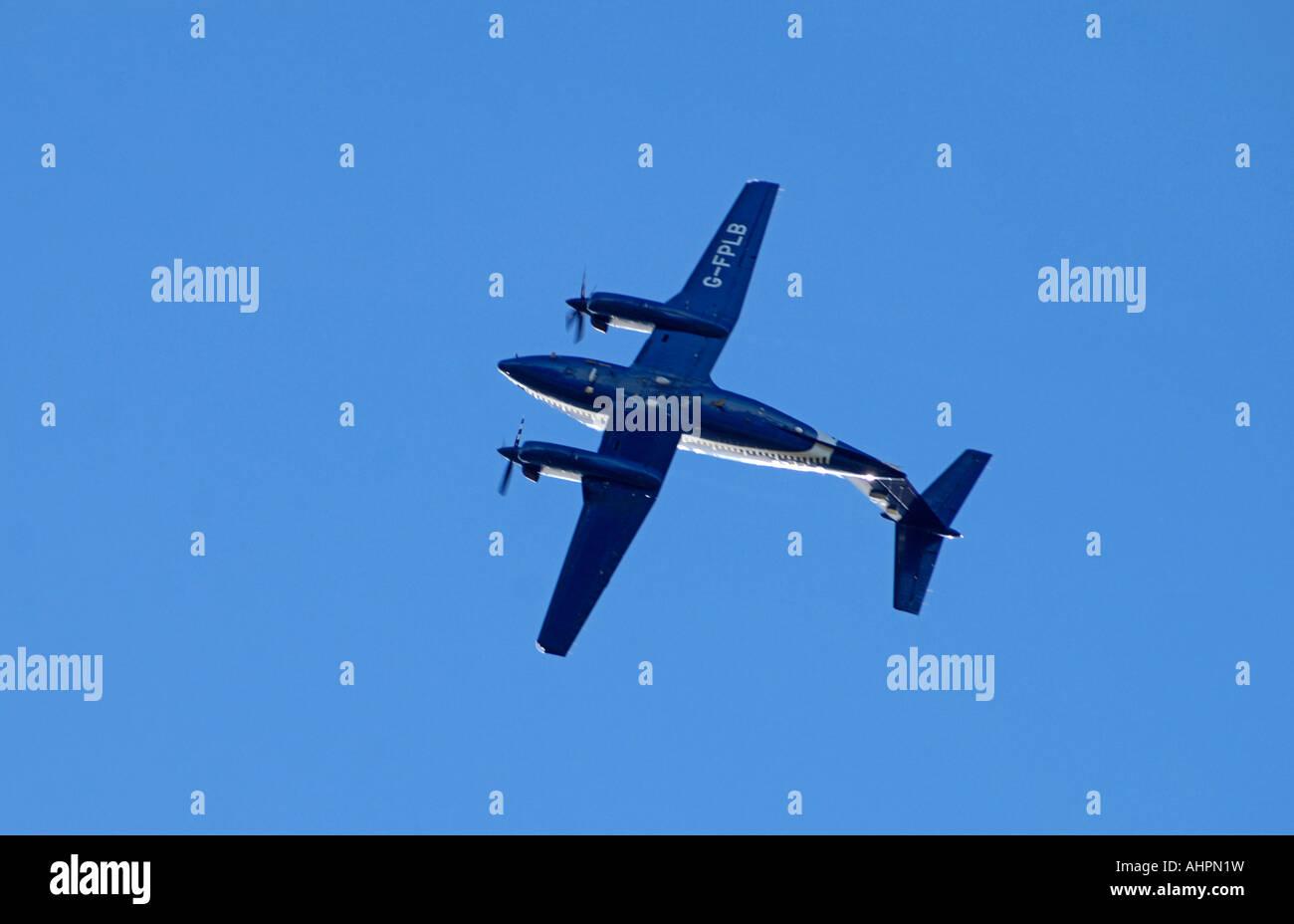 Flight Precision Ltd Beech Super King Air B200 G-FPLB Working on airfield runway calibration - Stock Image