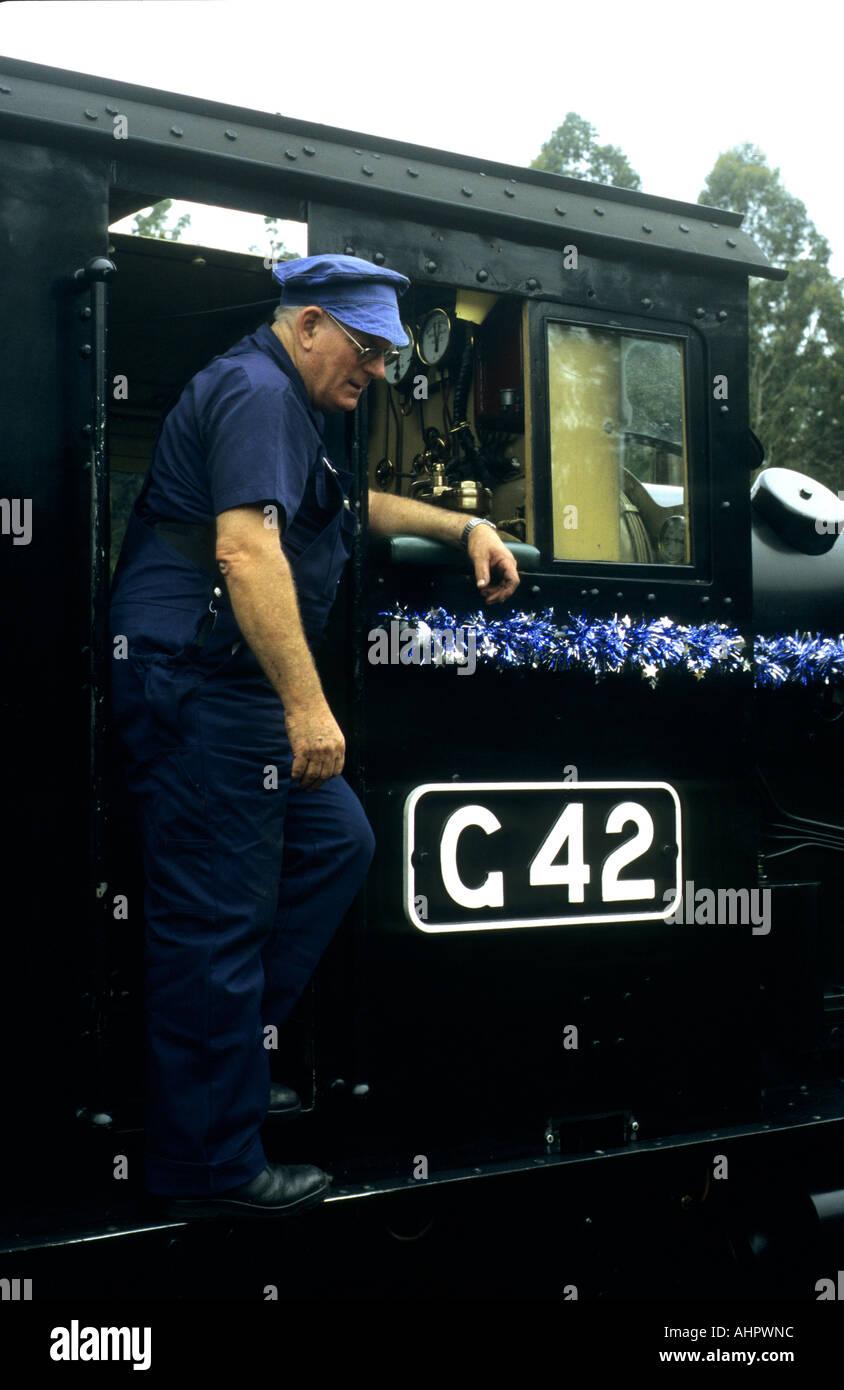 Train driver at Puffing Billy Railway, Belgrave, Victoria, Australia - Stock Image