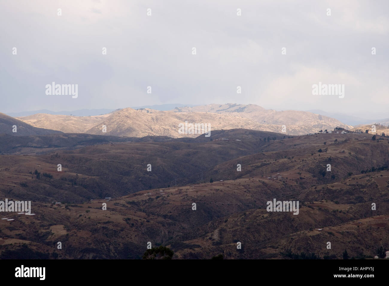 View of the Andes and Sucre from the Parque Cretacico, the Dinosaur park set up to overlook the Dinosaur footprints, - Stock Image