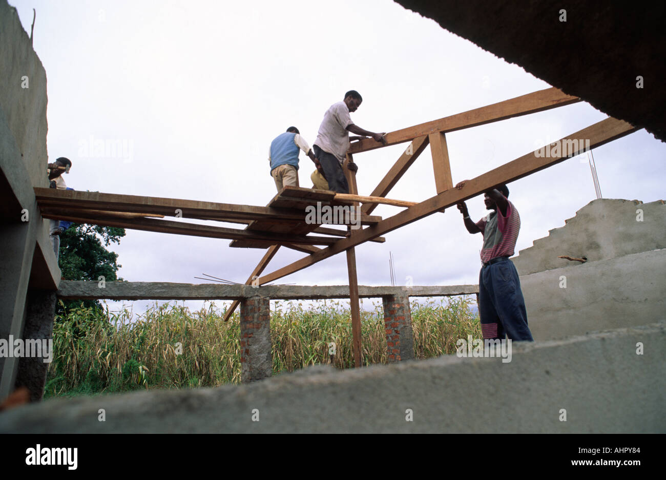 Reconstructing a school. Mozambique - Stock Image