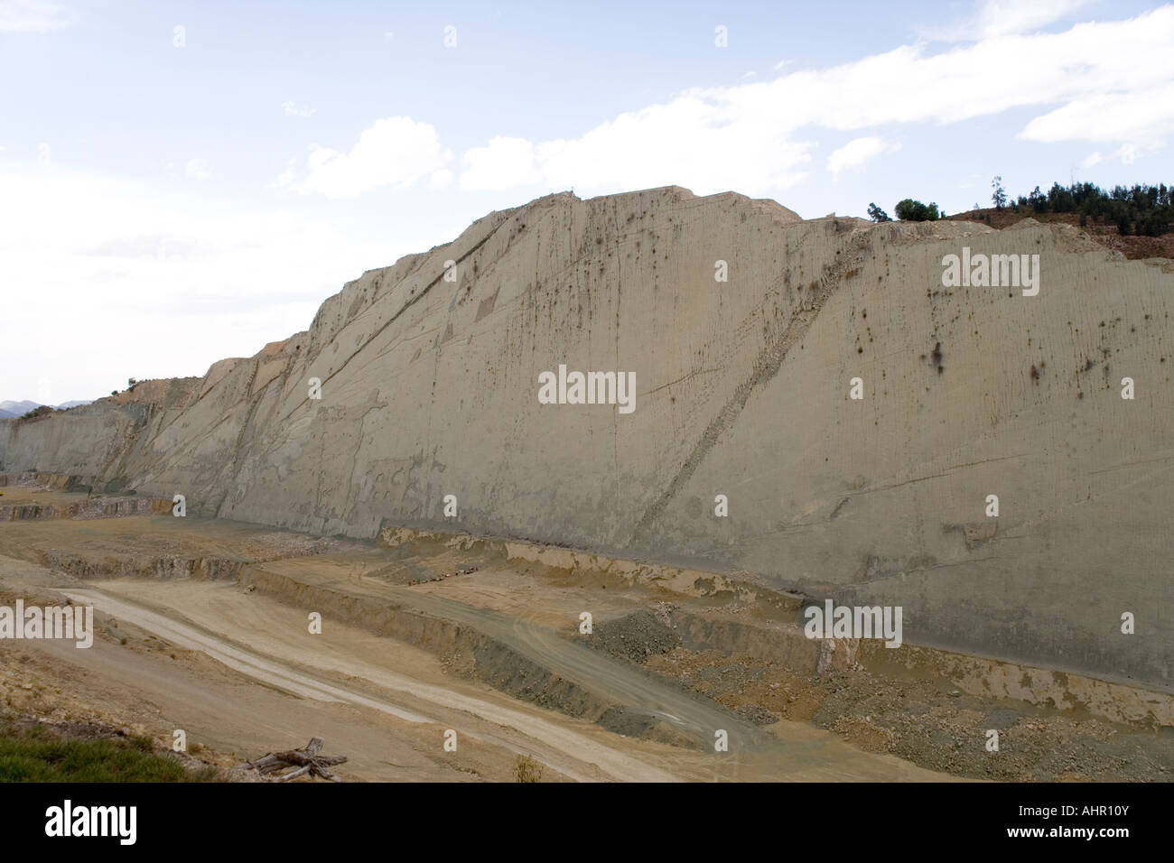 The Dinosaur footprints at the Cal Orko Mountain in a cement factory quarry near Sucre, Altiplano, Bolivia - Stock Image