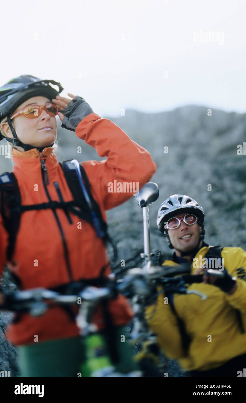 Mountain bikers - Stock Image